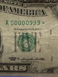 1963 $5  dollar bill Super Low Binary Star Note  Number# 00000999* Super Rare!