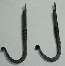 "2 HAND FORGED 5"" WROUGHT IRON BLACKSMITH HOOK Kitchen Rack Wall Bag Key Hanger"