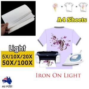 5/10/20/50/100 sheets A4 Iron Heat Transfer Paper For Light Cotton T-shirt Ship