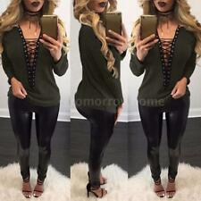 Women V Neck Chocker Ribbed Knit Jumper Sweater Lace-up Top Shirt Blouse Y4Y9