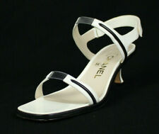 CHANEL $445 White Patent Leather Black Trim Mid-Heel Sandals 37