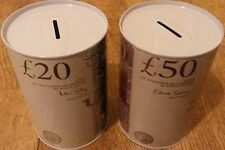 2 x ASSORTED MONEY BOX TIN'S (£50 & £20): BRAND NEW BANK OF ENGLAND NOTE IMAGES