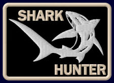 """SHARK HUNTER EMBROIDERED PATCH ~3-5/8"""" x 2-1/2"""" OUTDOOR SPORT FISHING ROD HAI"""
