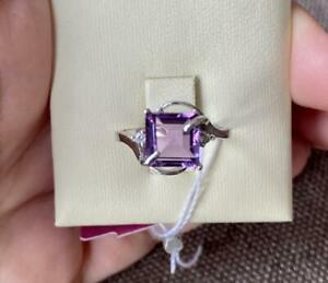 Cute Women's Jewelry Ring Sterling Silver 925 With Stone Natural Amethysts