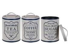 Round Storage Metal Retro Coffee Tea Sugar Tins Set of 3 White / Blue