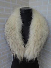 New  Genuine raccoon fur collar / wrap /scarf  light yellow with black hair