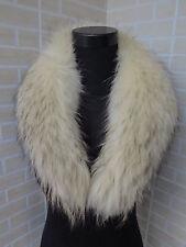 New  Genuine raccoon fur collar / wrap /scarf  light yellow with black hair