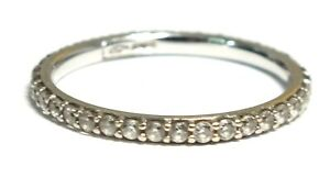 .750 18ct WHITE GOLD Round CUBIC ZIRCONIA Eternity Ring, Size N, 1.63g - E09