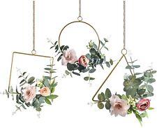 Floral Hoop Wreath Set of 3 Artificial Flower Hanging Wall Hoop Garland Decer