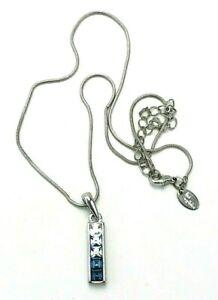 Lia Sophia Watercolors Clear/Blue Cut Crystals Bar Pendant Silver Tone Necklace