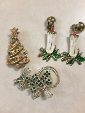 Vintage Jewelry Mixed Lot Christmas Pins Earrings*OLD AND ADORABLE*