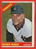 1966 Topps #365 Roger Maris GOOD+ CREASE MARK New York Yankees FREE SHIPPING