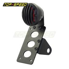 Motorcycle Side Mount License Plate Bracket Holder Taillight Lamp Bobber Chopper