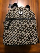 tommy hilfiger Small Monogram Fabric Backpack In Black/natural