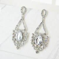 Fashion Dangle Drop Chandelier Earrings Vintage Wedding Crystal Glass Rhinestone