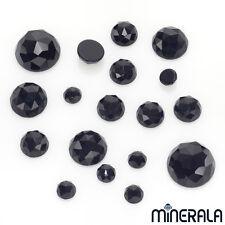NATURAL BLACK ONYX GEMSTONE LOOSE ROSE CUT ROUND SHAPE VARIOUS SIZES WP00060
