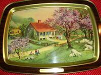 Currier & Ives '1868 American Homestead Spring' Serving Tray Vintage Scene   339