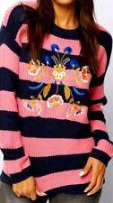 New Womens Brave Soul Embroidered Stripe Jumper Navy/Pink Size UK 18