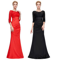 Long Formal Lace + Satin Ball Gown Evening Prom Party Dress 8 Size US 2~16
