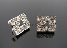 Stud Hip Hop Bling Earrings Jordan Number # 23 Basketball Silver Tone Cz