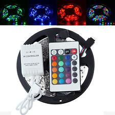 RGB 5M/reel 3528 SMD Flexible 300 LED Strip Light + 24 keys IR Remote Control US