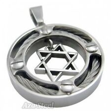 "Men's Silver Star Of David Steel Pendant with 21"" Chain Necklace"