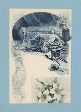 ANTIQUE VINTAGE ARTISTIC NUDE WOMAN CUPID FLOWERS SORROW MOURNING COLLAGE PRINT