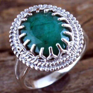 Sakota Mine Emerald Gemstone 925 sterling Silver Jewelry Ring Size US 6.5