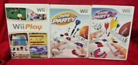 Game Party 1, 2, + Wii Play - Nintendo Wii Wii U Lot Complete Tested Working !