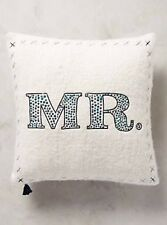 NIP Anthropologie MERRY SENTIMENTS PILLOW Embroidered Wool MR