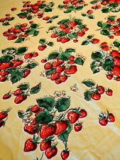 Vtg 1950 60's Butter Soft Rayon Light Lime Green Center Strawberries Table Cloth