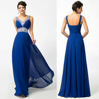 Beaded Long Chiffon Wedding Formal Evening Party Bridesmaid Ball Gown Prom Dress