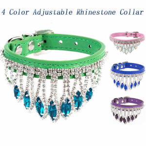 New Pet Collars Bling Rhinestone Dog Collars Crystal Leather Puppy Cat Necklaces