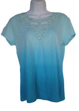 Chico's Size 0 Naples Blue Ombre T-shirt Top Crochet & Beaded Trim