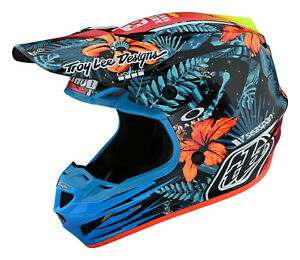 2021 TROY LEE DESIGNS TLD HELMET SE4 COMPOSITE LE COSMIC JUNGLE BLUE MX ADULT
