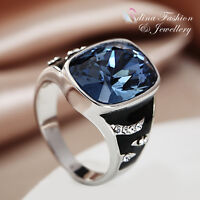 18K White Gold GP Made With Swarovski Crystal Classical Baguette Cut Men`s Ring