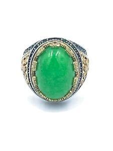 Natural Rare Yemeni Aqeeq Sterling Silver 925 Handmade Men's Agate Ring Size 9.5
