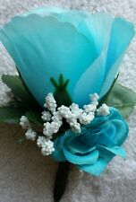Rose Boutonniere*Corsage*light Blue, *Groom *Best man* Prom*Party*Quinceanera