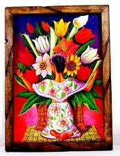 "Print/Painting Mexico Folk Art Wood Frame Diego Rivera Vendiendo Flores 17""X13"""