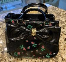 Lovely Betsey Johnson Black Satchel Handbag Large Bow W/Rosebuds