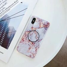 Marble TPU Matte Phone Case Cover For iPhone 6 6s 7 8 XS MAX with POP Up Holder
