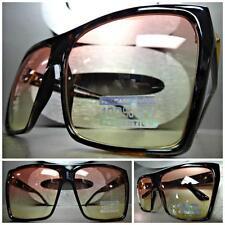 OVERSIZED VINTAGE RETRO Style SUN GLASSES Huge Tortoise Frame Pink & Yellow Lens