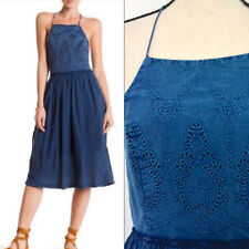 $129 Lucky Brand Dress Size Large Schiffli Bib Embroidered Blue Fit Flare New bn