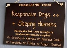 Black Do Not Knock  Responsive Dogs Warning Sleeping Humans Sign No Soliciting