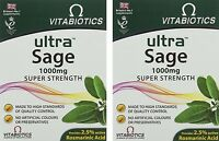 2x Vitabiotics ULTRA SAGE 1000mg  Super Strength 30 Tablets - Multibuy