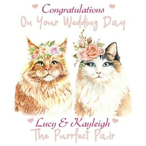 LGBT LESBIAN GAY PERSONALISED WEDDING DAY CARD MRS & MRS WIFEY 'PURRFECT PAIR'