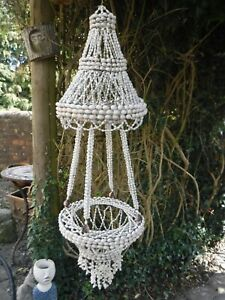 Vintage BOHO Sea Shell Chandelier Hanging Plant Pot Holder Approx 38 Inches