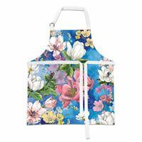 Michel Design Works Cotton Chef's Apron Magnolia Floral Blue Pink Purple