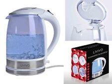 Livivo bleu électrique led verre bouilloire lumineux 2L 360 ° sans fil blanc