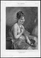 1875 Antique Print - FINE ART New Necklace Chaplin Lady Pearls Mirror  (G155)